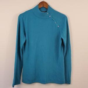 Teal sweater mock turtleneck size large